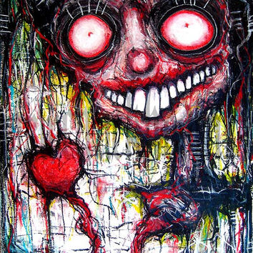 "Print 8x10"" - I hold you in my heart forever, I miss you more than words can say - Dark Art Horror Monster Creature"