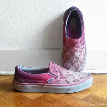 CREYONS Flamingo pink ombre Vans slip on sneakers, upcycled vintage skate shoes, size eu 39 (U