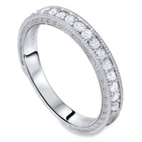 14K White Gold Vintage .30 cttw Diamond Wedding Band