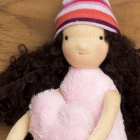 Waldorf inspired textile doll - fluffy pink girl in a hat - with a stuffed heart - autumn girl -