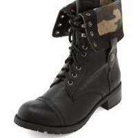 Fold-Over Lace-Up Combat Boot by Charlotte Russe - Black