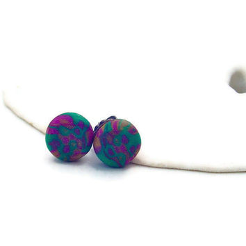 Titanium stud earrings. gold, green and purple polymer clay earrings. titanium earrings