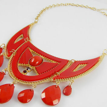 Statement  Necklace  Red & Gold Chest Plate Chandelier Beaded Collar Bib Statement NECKLACE - Red