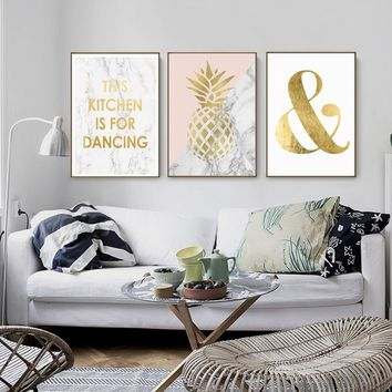 Nordic Canvas Poster Gold Pineapple Canvas Painting Modern Posters And Prints Canvas Art Oil Painting On Canvas Wall Pictures Fo