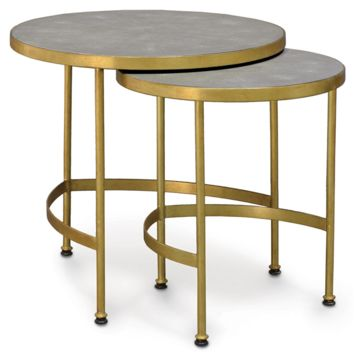 Palecek Wells Faux Shagreen Side Table Set of 2