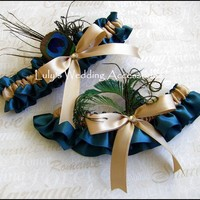 .Peacock Feather Garter, Bridal Accessories Teal and Champagne Garters