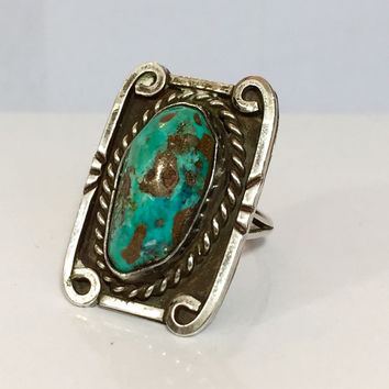 Vintage Jewelry Turquoise Ring / NAVAJO Ring / Native American Indian Ring / Sterling Silver Turquoise / Antique Estate Jewelry / Pawn Ring