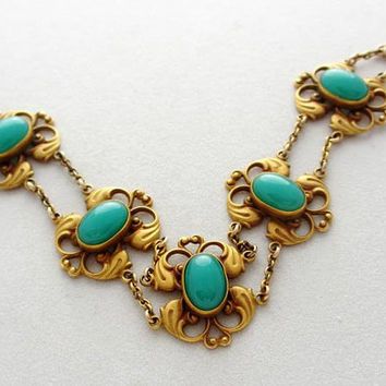 Turn of the Century Jewelry: Antique Art Nouveau Bloomed Gold and Chrysoprase Glass Bracelet