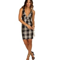 Sale-gold Plaid Midi Dress
