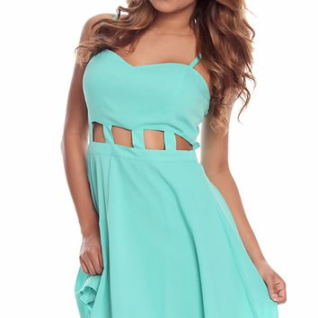 JADE HEART SHAPED BODICE CUT OUT MIDDLE PARTY DRESS