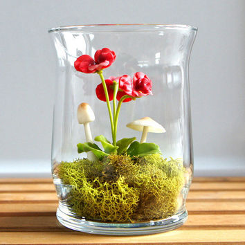 Miniature Red Pansy Woodland Terrarium by Miss Moss Gifts