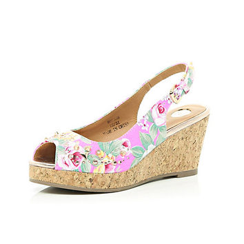River Island Girls pink floral peeptoe wedges