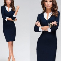 Women Sexy Solid Dresses Formal OL Bandage Slim Pencil Skirt V Neck Half Sleeves Deep Blue S-XXL 853676 = 1956800772