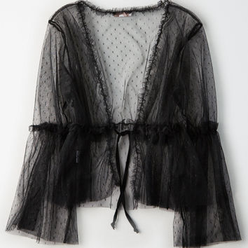 Don't Ask Why Tulle Cardigan, Black