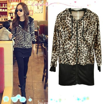 New Fashion Slim Leopard Print Long Sleeve Jacket Hooded Zip Up Coat