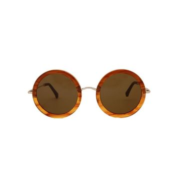The Row Mahogany Acetate Sunglasses - Round Frame Sunglasses - ShopBAZAAR