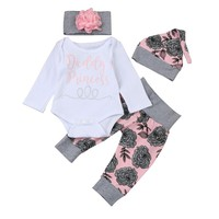 "Baby Girl ""Daddy's Princess"" Bodysuit, Hat, Headband & Pant Set"