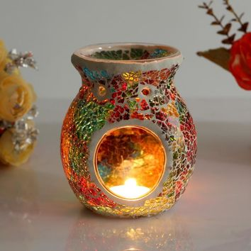 Free Shipping 1 X Mosaic Glass Candle Holder Incense Burner Oil Lamp Cafe Bar Home Table Decorative