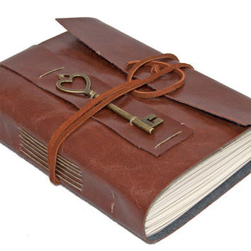 Faux Leather Wrap Journal with Heart Key Charm Bookmark - Choice of 6 colors 2 Paper options -
