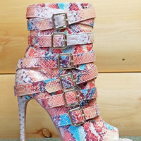 "Harmony Nude Multi Color Snake Open Toe Buckle Strap Ankle Boot - 4.5"" Heels"