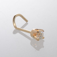 Genuine Diamond Nose Stud 20g 14k Yellow Gold .075 ct Curved Nose Pin