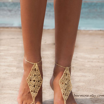Gold Barefoot Sandals, Metallic gold thread crocheted footless sandals, Foot jewelry, Lace shoes, Bridal party, Destination wedding