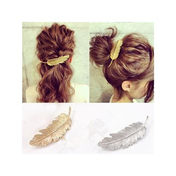 2pcs Leaf / Feather Shaped Hair Clip Pin Claw Hair Accessories