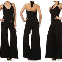 "RED CARPET ""THE OSCAR"" SEXY BLACK HALTER PALAZZO JUMPSUIT VA VA VOOM NWT $108"