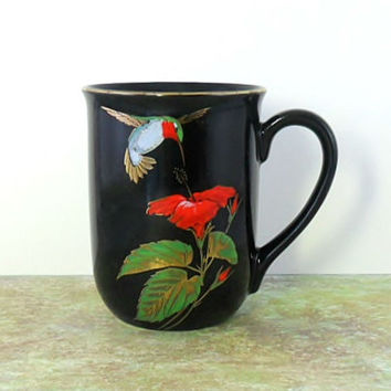 Vintage Hummingbird Mug Cup Otagiri Gibson Greeting Card Bird Black Gold Rimmed Coffee Mug Tea Cup Gift for Hummingbird Lovers