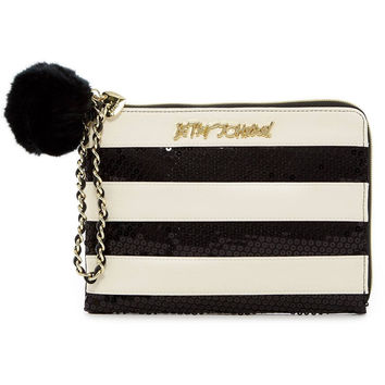 Betsey Johnson Sequin Stripe Faux Leather Pouch/Clutch/Wristlet