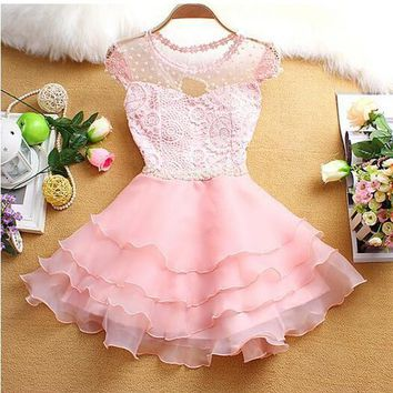 Pink Patchwork Lace Grenadine Tiered Pearl Mini Dress