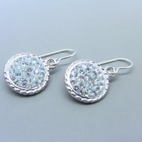 Sterling Silver Round Crystal Chaton Earrings