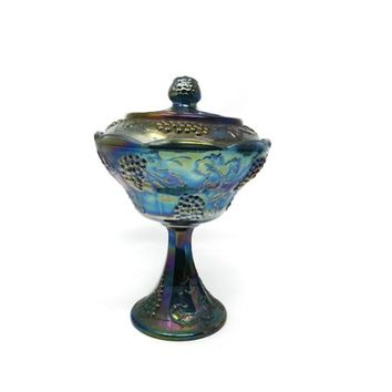 Indiana Glass BLUE CARNIVAL Harvest Grape Blue Carnival Glass Candy Dish Covered Compote