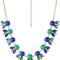 "Gold-Tone Blue Green Acrylic Marquise Teardrop Necklace, 18""+3"""