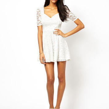 White Lace and Mesh Sleeve Mini Dress