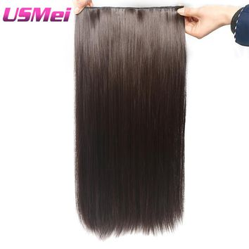 """USMEI 5 clips/piece Natural Silky straight Hair Extention 24""""inches 120g Clip in women pieces Long Fake synthetic Hair"""