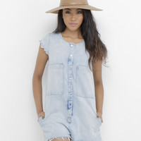THE WAVERLY DENIM ROMPER