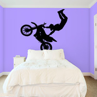 Wall Decal Vinyl Sticker Decals Art Decor Design Dirty Motocross Motorcycle Jumping Moto Sport Extrime Kids Children Cool Gift Bedroom(r530)