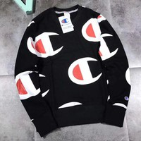 ONETOW Champion Woman Men Fashion Round Neck Top Sweater Pullover