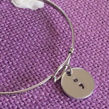 Semicolon Bracelet - Semicolon Jewelry - Suicide Awareness - Suicide Prevention - oval Bracelet  - Custom hand stamped