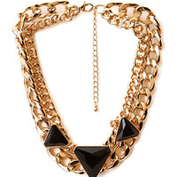 FOREVER 21 Underground Faux Stone Necklace Black/Gold One