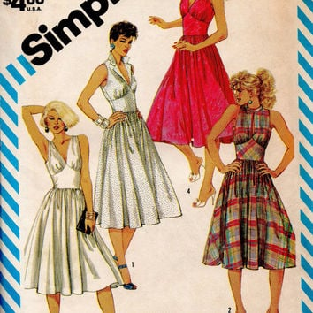 80s Simplicity 6333 Sewing Pattern Marilyn Monroe Style Dress Full Circle Skirt Fitted Bodice Halter Neckline Notched Collar Uncut Bust 34