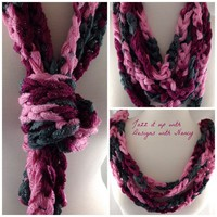 Pink Burgundy Gray Multi-Strand Finger Crochet Ladies Infinity Scarf