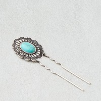 AEO Women's Turquoise Flower Hair Pin (Silver)