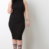 Ribbed Knit Mock Neck Sleeveless Bodycon Midi Dress