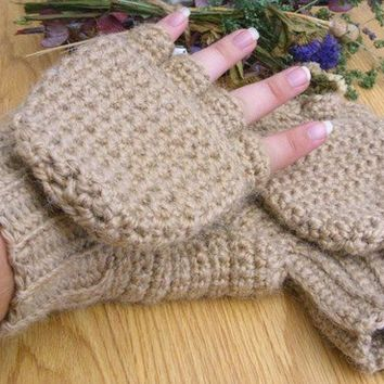 Super Thick and Warm Alpaca Wool Crocheted Convertible Fingerless Mittens/Gloves - Oatmeal Beige Tan Light Brown