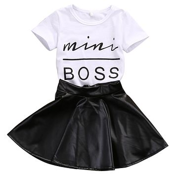 2 Piece 'Mini Boss' T Shirt + Skirt Set