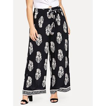 Plus Flower Print Wide Leg Pants