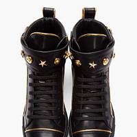 Versace Black Gold-trimmed Leather Buckled High-top Sneakers for women | SSENSE
