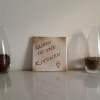 Queen of the kitchen  - small canvas white gold bronze - Wall Art Canvas handmade written- original by misssfaith